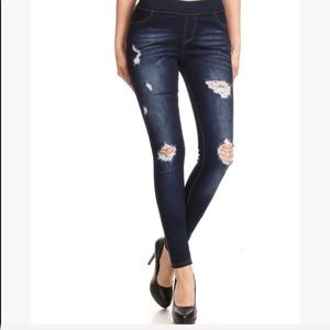 High Waisted Elastic Jeans Distressed